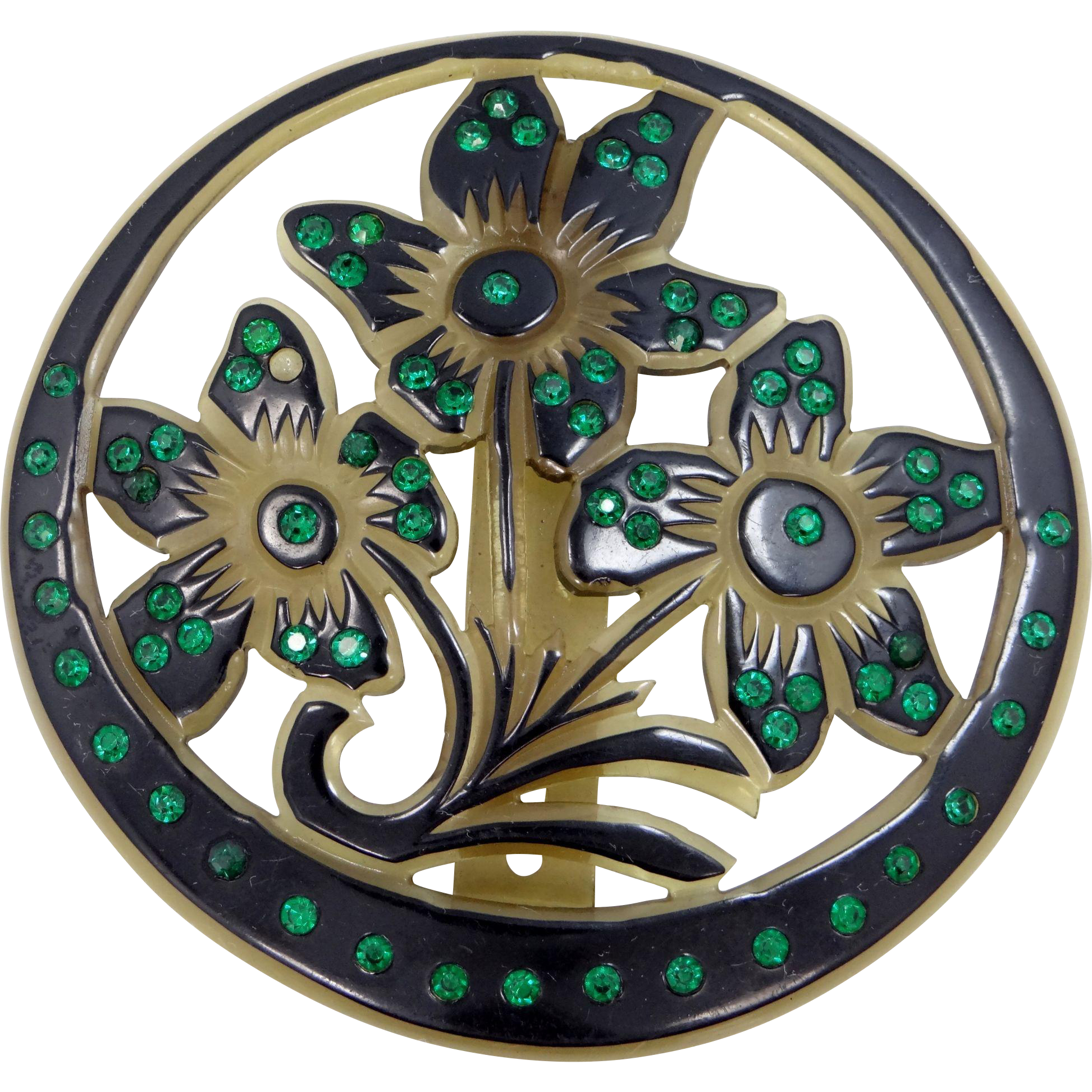 "HUGE 4"" Diameter Celluloid Floral Buckle with Green Rhinestones"
