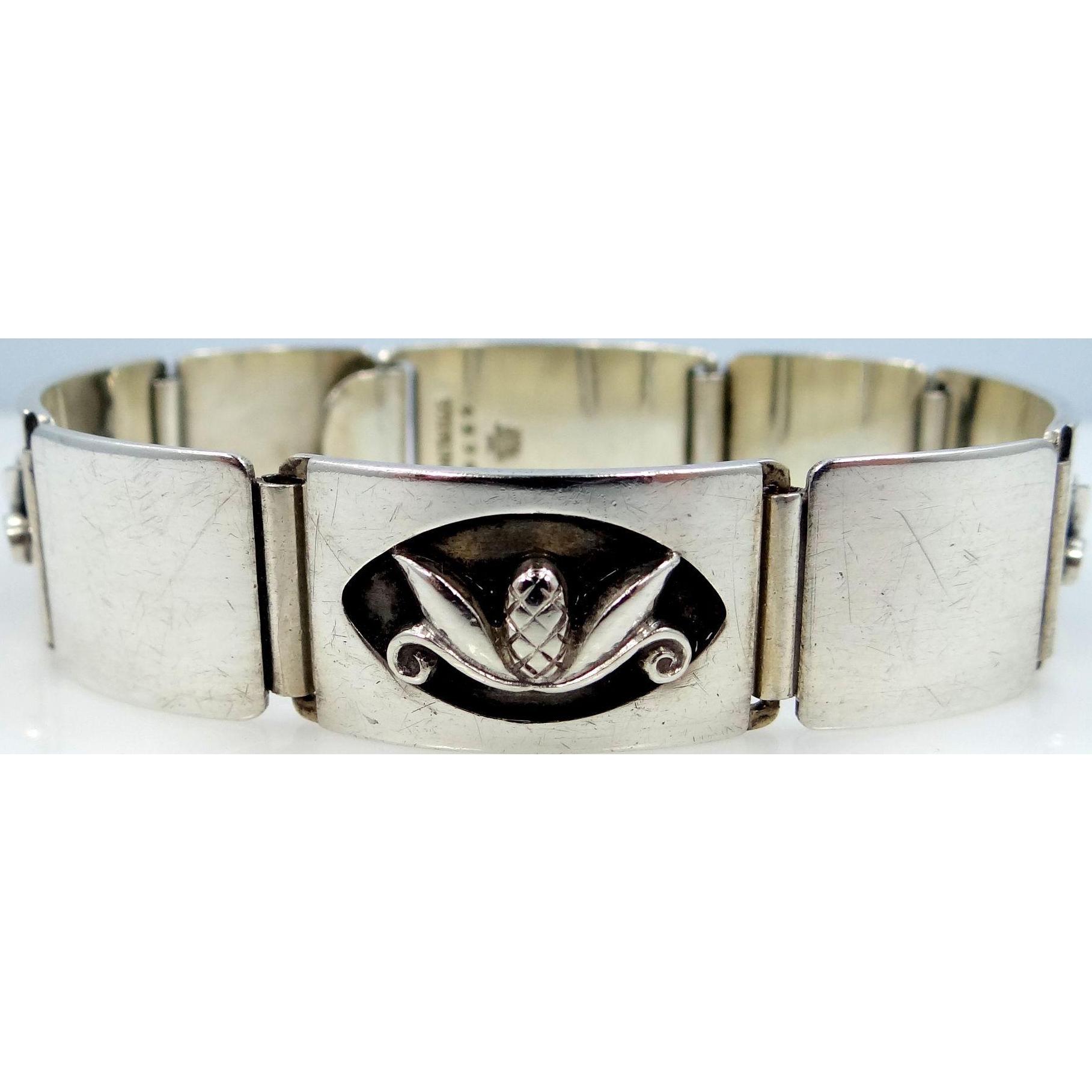 Georg Jensen Sterling Silver Mid Century Shadowbox Bracelet