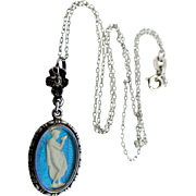 Art Deco Sterling Silver Morpho Butterfly Wings Goddess Necklace England