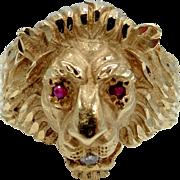 Man's 14k Gold Diamond & Rubies Lion Head Ring