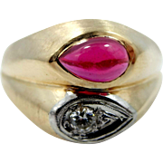 Man's 14k Gold Diamond and Ruby Retro Style Ring