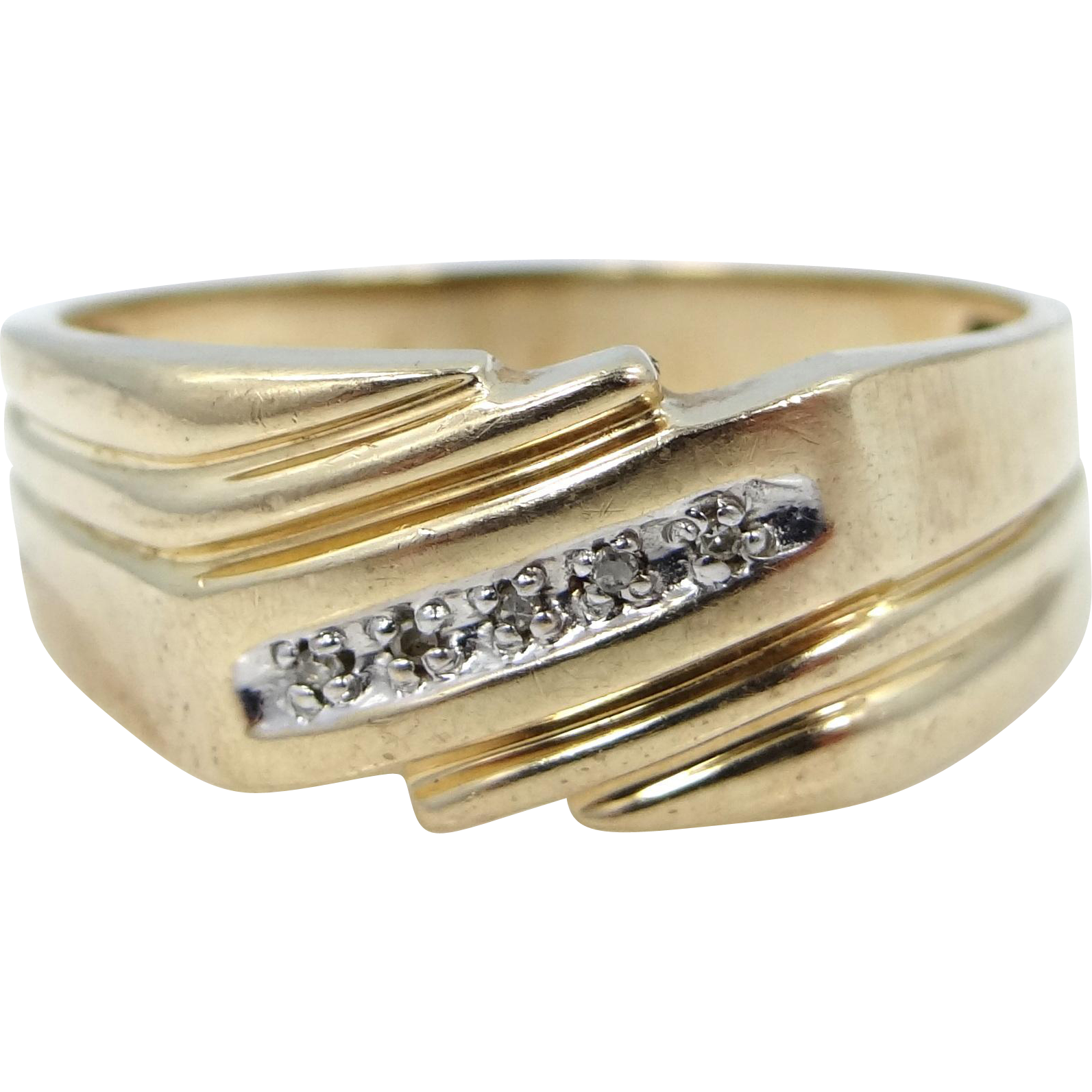 Man's 10k Gold & Diamonds Size 10 Ring