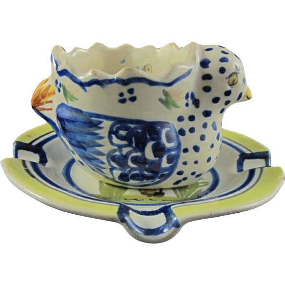 HENRIOT QUIMPER c.1930 chicken egg cup & dish, French faience