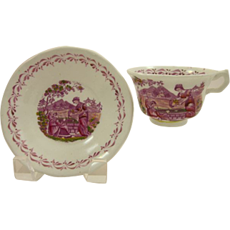PINK LUSTER 1820s  Rebecca at the Well cup and saucer