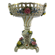 SANDIZELL Dresden-style reticulated compote or centerpiece, applied roses 10""