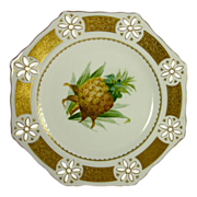 MINTON c1869 antique plate handpainted pineapple pierced gold border G120