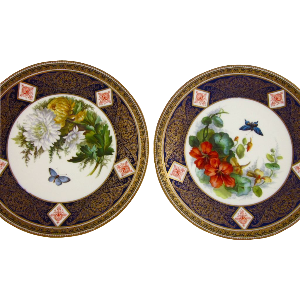 Hand Painted Plates : Brown westhead moore hand painted plates b butterfly