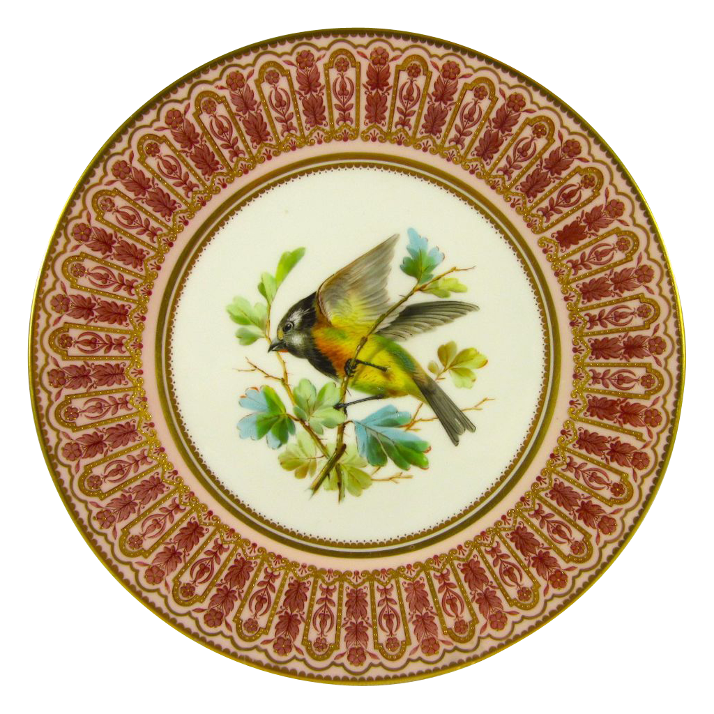 CROWN DERBY c1878 antique plate hand painted robin gilded SOLD | Ruby Lane  sc 1 st  Ruby Lane & CROWN DERBY c1878 antique plate hand painted robin gilded SOLD ...