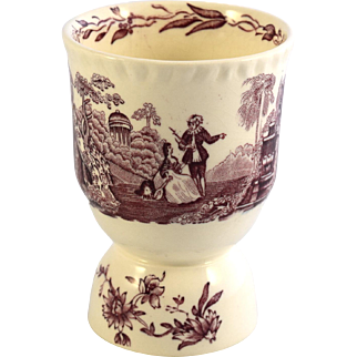 MASONS Watteau mulberry double egg cup 1940s