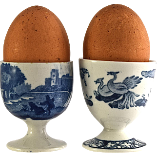 SPODE COPELAND Italian FURNIVALS Old Chelsea egg cups (2) blue and white c1912