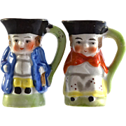 "Pair JAPAN Colonial Couple Toby Jugs 2"" miniature figurines"