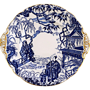 ROYAL CROWN DERBY Blue Mikado round cake plate gold handle c1978