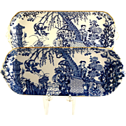 ROYAL CROWN DERBY Blue Mikado sandwich tray c1973