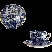 2 ROYAL CROWN DERBY Blue Mikado demitasse cup & saucer sets pointed handle c1940s