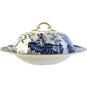 ROYAL CROWN DERBY Blue Mikado muffin dish and lid c1937