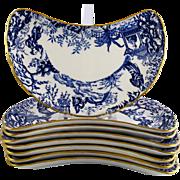 8 ROYAL CROWN DERBY Blue Mikado salad plates crescent c1967
