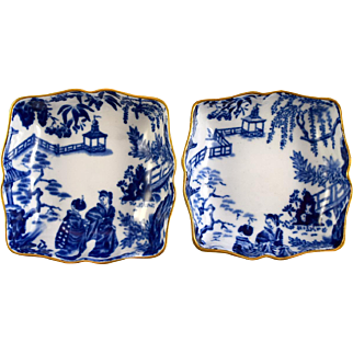 "2 ROYAL CROWN DERBY Blue Mikado 1803 trays 3"" square  c1944 1954"
