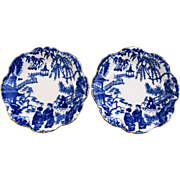 "2 ROYAL CROWN DERBY Blue Mikado Alton trays 4.5"" round c1954 1955"