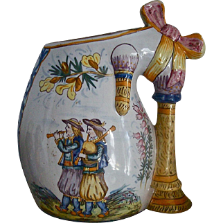 HENRIOT QUIMPER c1910 signed bagpipe vase antique French faience