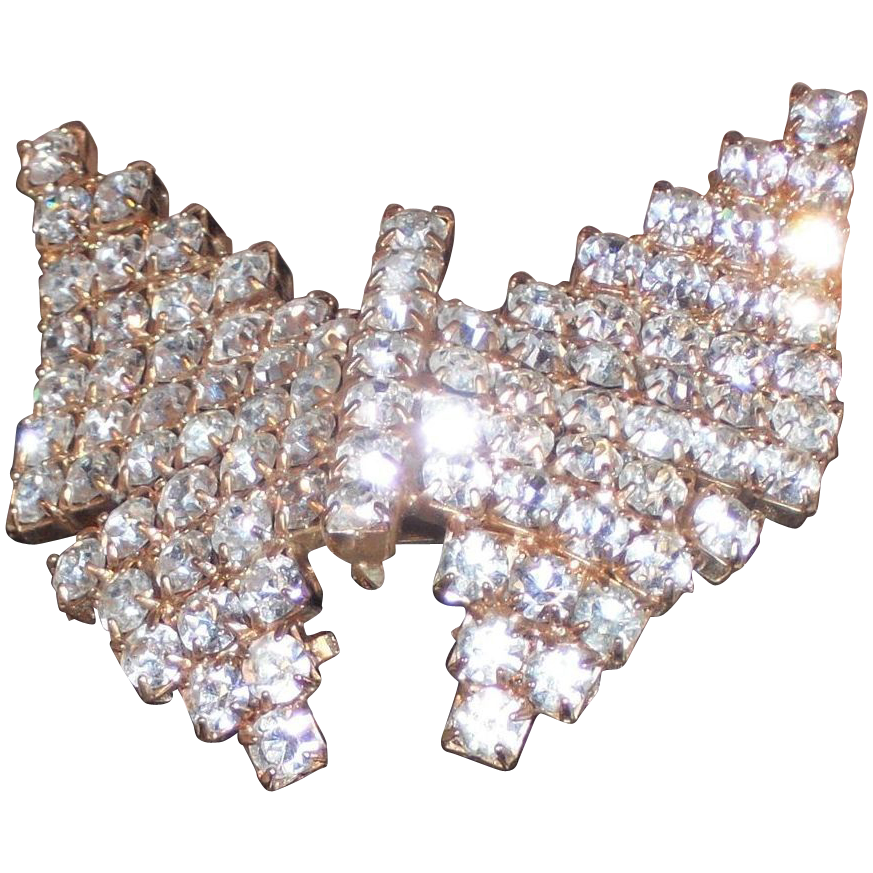 Vintage MUSI Gold PLated Rhinestone Butterfly Shoe Clip  Prong Set Austrian Crystal