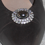 Vintage MUSI Shoe Clip – Oval Faux Hematite Surrounded by Black Diamond Rhinestones