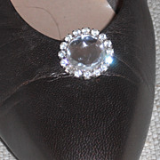 Vintage Shoe Clip by MUSI, Round Acrylic Stone Surrounded by Austrian Crystal Rhinestones