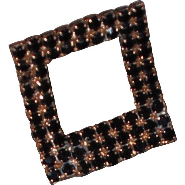 Vintage Stand-up Rectangular Shoe Clip by MUSI Jet Black Austrian Crystal Rhinestone
