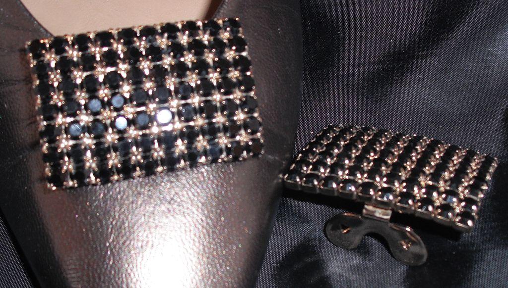 MUSI Jet Austrian Crystal Rectangular Shoe Clip