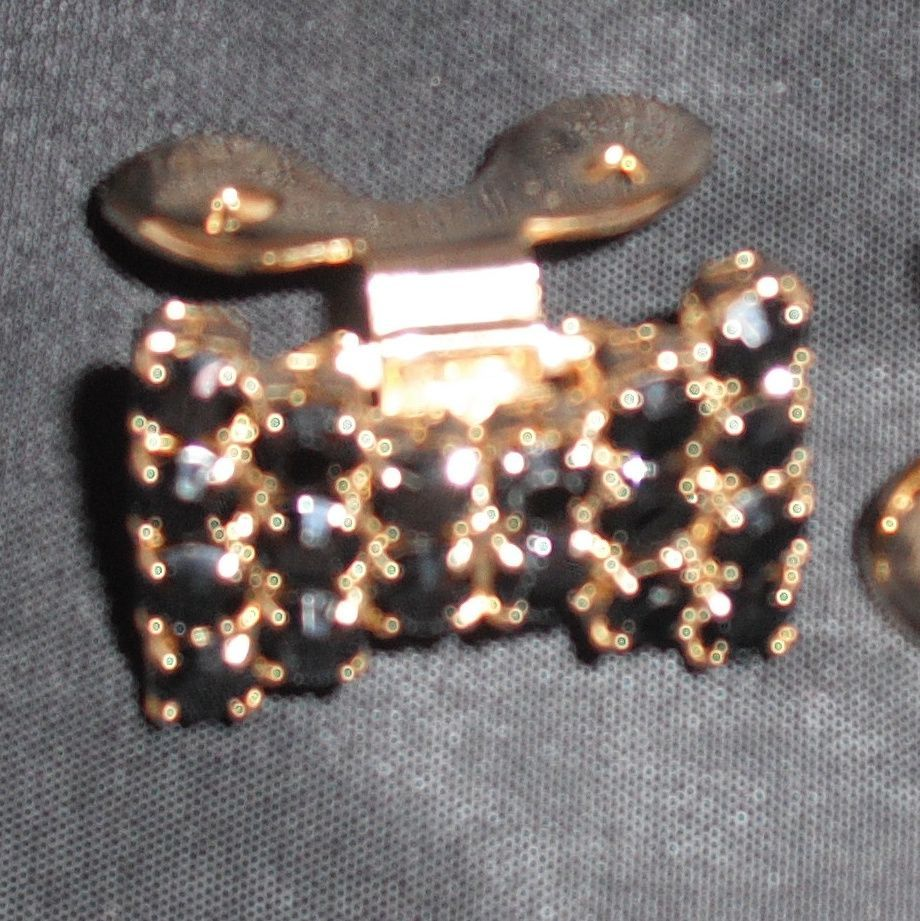 MUSI Jet Austrian Crystal Rhinestones Small Bowtie Shaped Shoe Clip