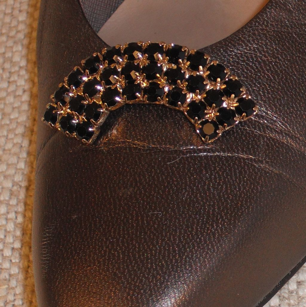 MUSI Shoe Clip – Black Jet Austrian Crystal Rhinestones w/Gold Plating.
