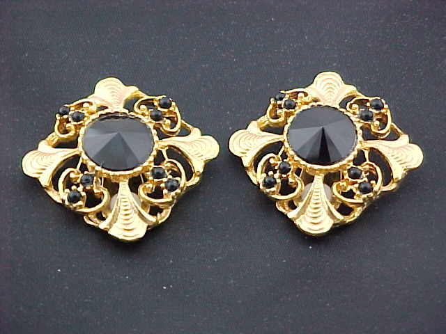 Gold Plated Square Casting with Jet colored stones - Clip Earring