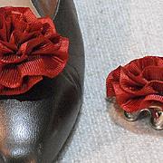 MUSI Shoe Clip -  Medium Rust Faille Rosette