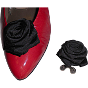 MUSI Shoe Clip – Black Faille Flower