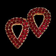 MUSI Ruby Austrian Crystal Rhinestones Large Pear Shaped Shoe Clip