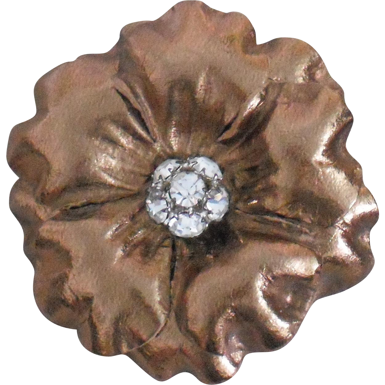 Vintage Bronze Leather Flower Pierced Earring with Rhinestone Center by MUSI