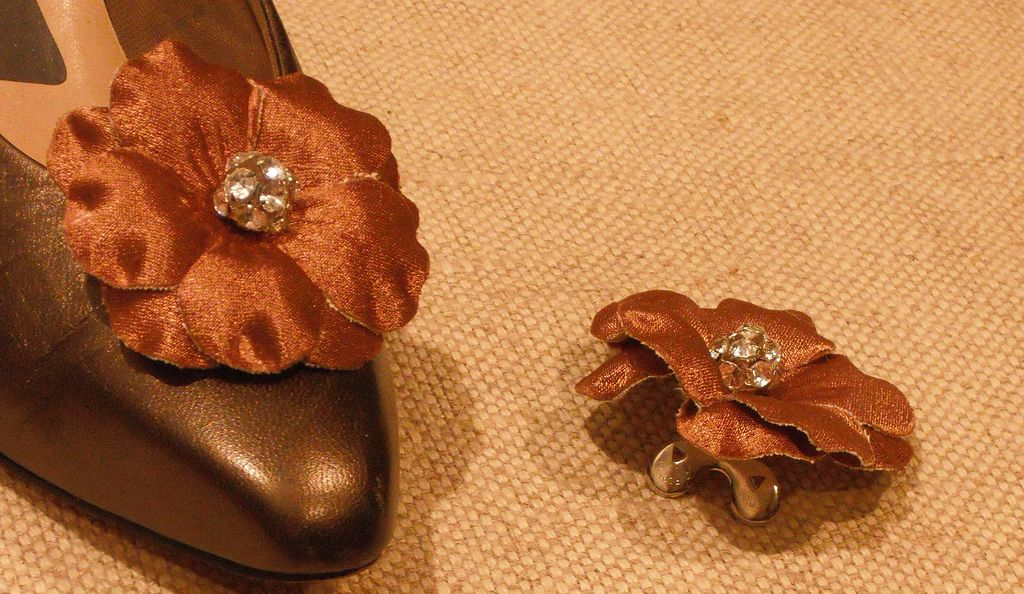 Bronze Satin Flower Shoe Clip with Rhinestone Center by MUSI