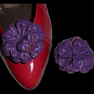 MUSI Shoe Clip – Purple Leather Flower