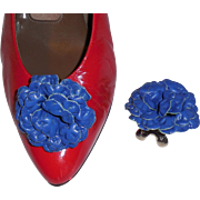 MUSI Shoe Clip – Royal Blue Leather Flower