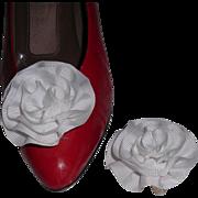 MUSI Shoe Clip – White Faille Rosette