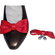MUSI Shoe Clip – Red Faille and Faux Leather