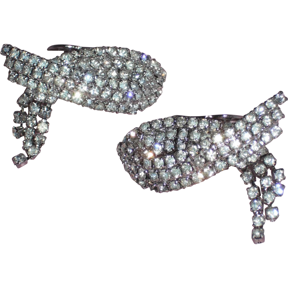 Vintage Triple Row Austrian Crystal Rhinestones Draped Shoe Clip by MUSI