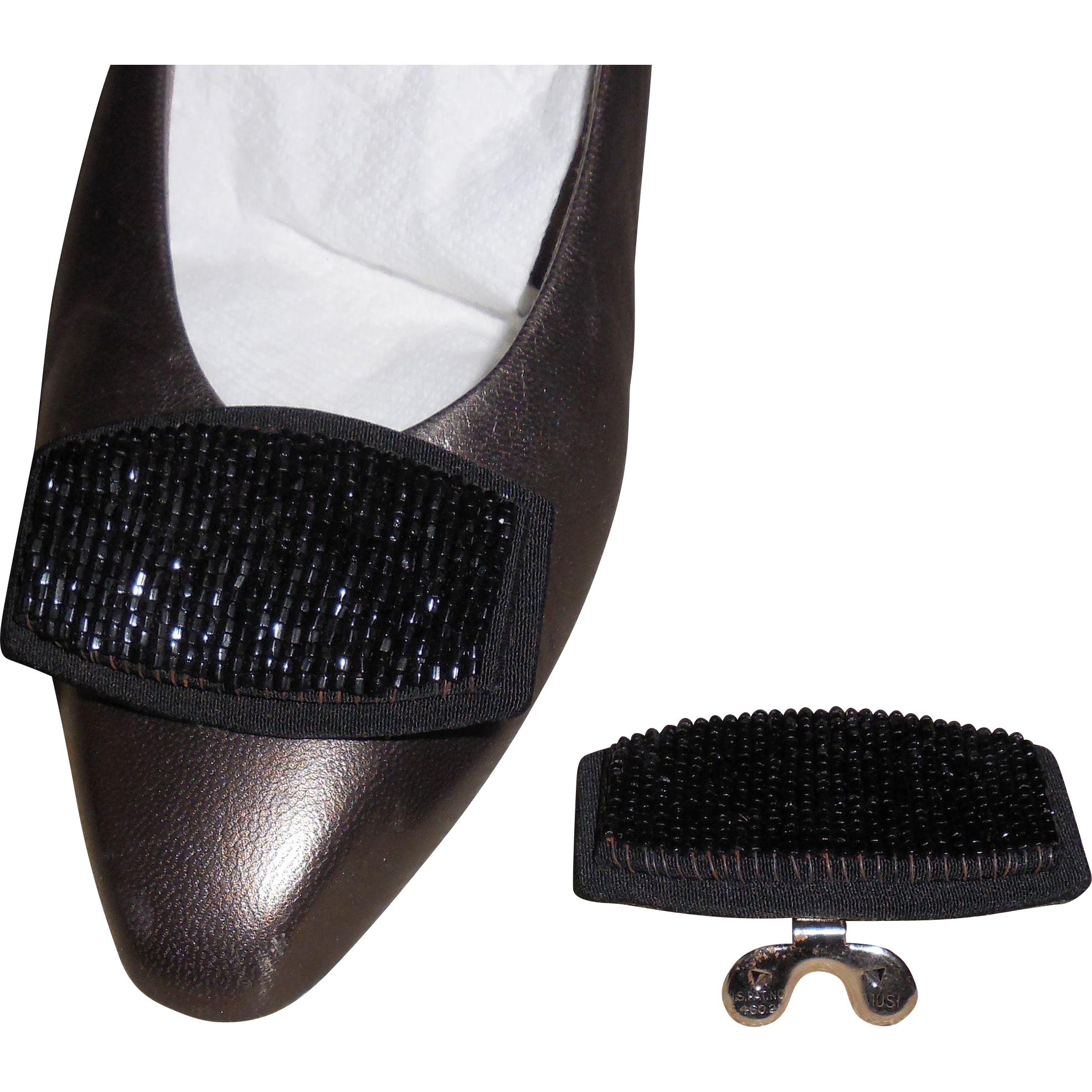Vintage MUSI Shoe Clip with Hand Sewn Black Seed Beads