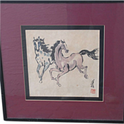 Vintage Picture Asian Horses
