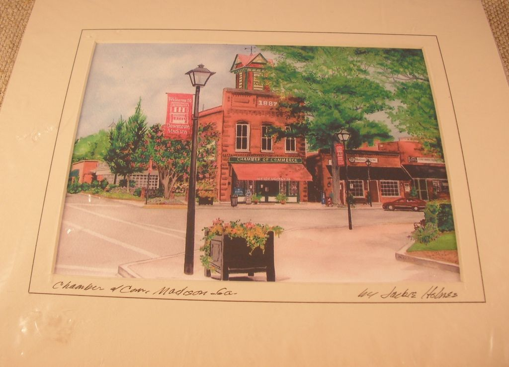 Vintage Print of Chamber of Commerce, Madison Ga by Jackie Holmes