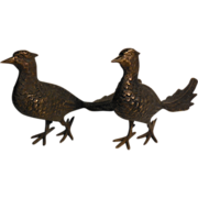 Vintage Pair of Bronze Pheasants