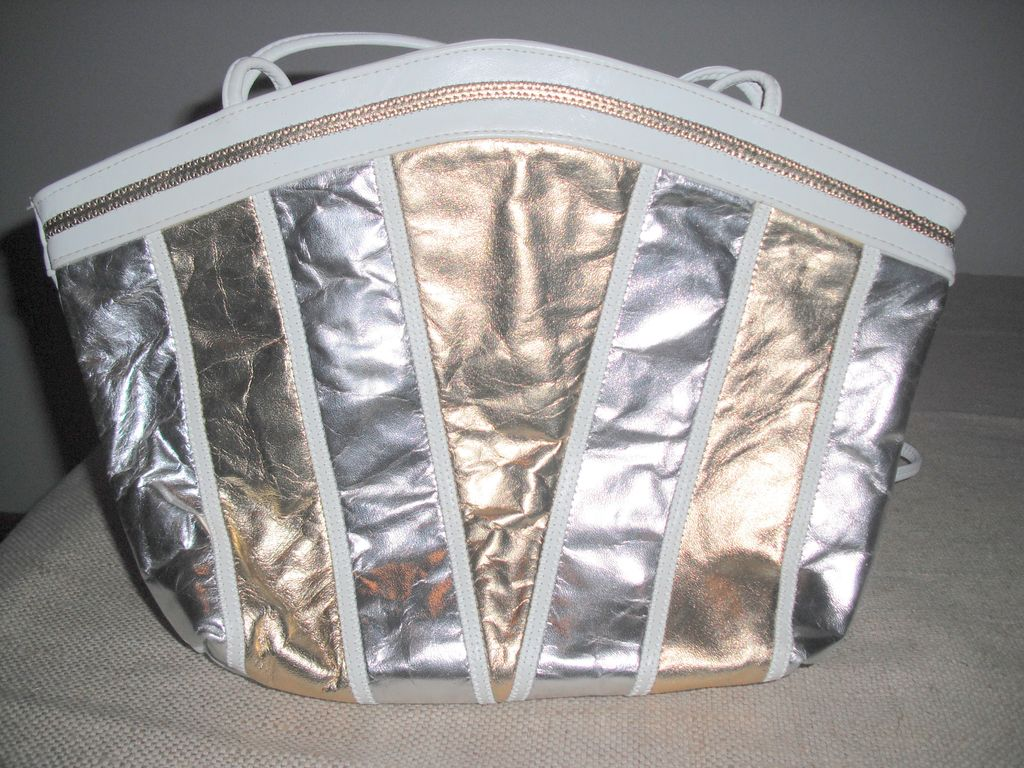 Vintage White Gold and Silver Shoulder Cross Body Strap Purse