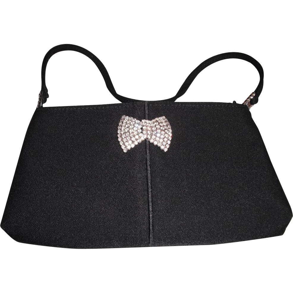 Vintage Black Evening Bag with Removable Rhinestone Pin