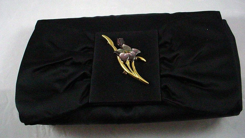 Vintage Black Satin Envelope Evening Bag by Siso Italy with Removable Pin