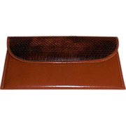 Medium Brown Leather|Dark Brown Snake Wallet|Clutch Purse