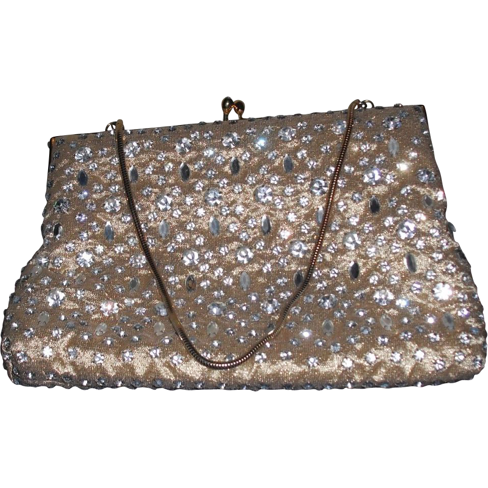 Vintage Gold Purse by Pam Glass Rhinestone Prong Set Purse Handbag
